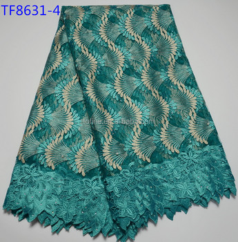 Fancy Lace Dress Fabric African Teal Embroidery Fabric Material