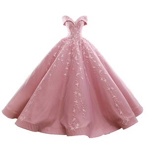 Pink Ball Gown Prom Dress 2018 Sweetheart Appliques Plus Size Sweet 16 Dresses Saudi Arabic Quinceanera Dresses
