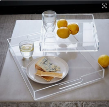 M&E Clear Acrylic Serving Tray Plastic Beverage Holder Napkin Food Tray with Handle