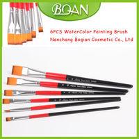 BQAN Double Color Wood Handle Nylon Hair 6PCS Artist Oil Painting Brushes