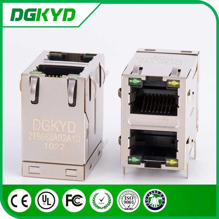 Shielded stacked dual deck rj 45 magnetics connector module , 2x1 , 10/100 BASE-T