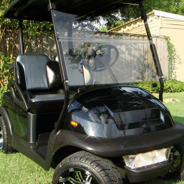 EZGO TXT Clear Golf Cart Folding Windshield - 1994 to 2013
