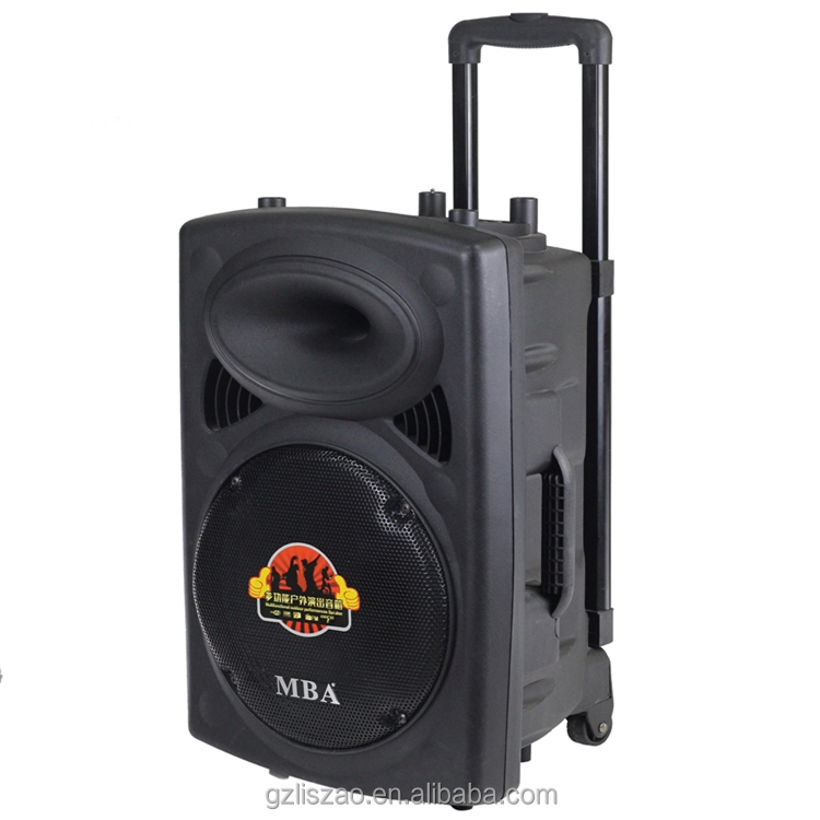 15 inch 2 way outdoor portable active stage speaker with blutooth,microphone,fm,wheels