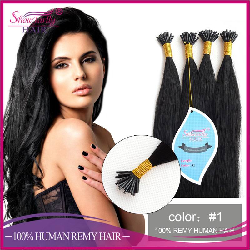 100 human remy double drawn keratin i tip stick pre bonded silky straight black brazilian hair extensions wholesale
