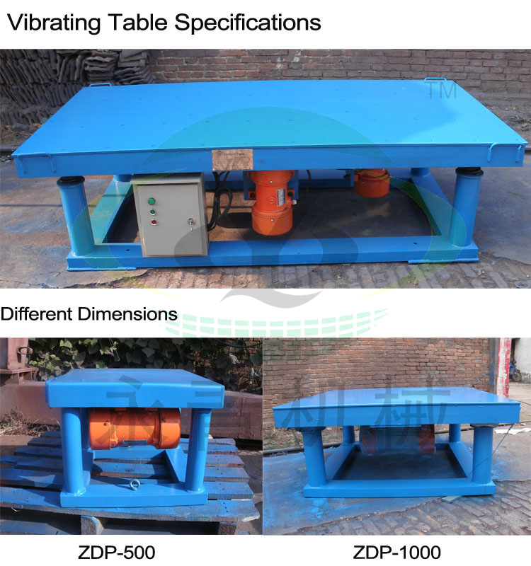 High quality vibrating table for molds with 2 vibration motors ZDP-1000