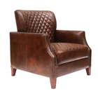 Distressed Brown Leather Diamond Quilted Club Chair