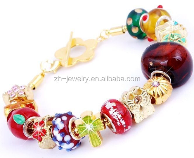 hot new products for 2015 murano glass bead imitation jewellery, european style charm handmade beaded bracelet fashion jewellery