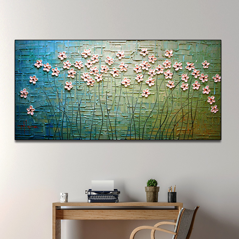 Modern minimalist art tree branch flower bed decoration hand painted oil painting handmade