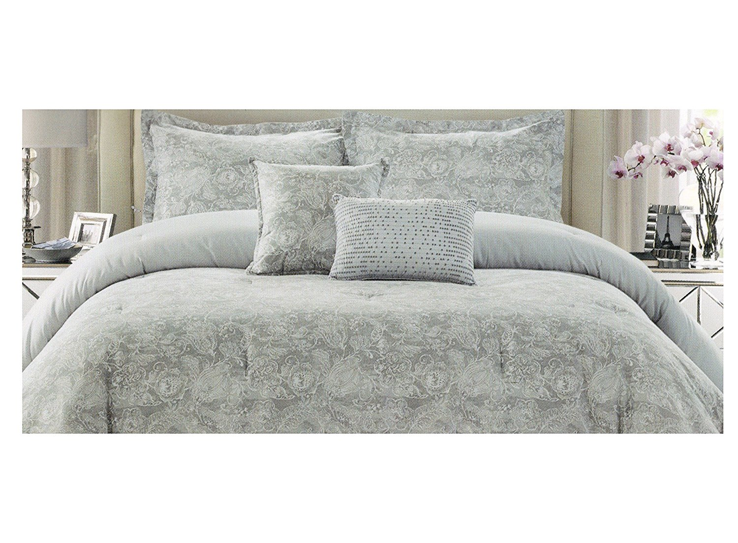 bedding shipping metallic piece today design grey overstock cover bath set silver intelligent khloe printed product duvet free