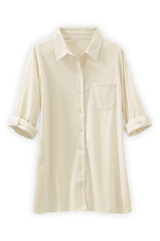d4e3d2a3a Get Quotations · Fair Indigo Fair Trade Organic Relaxed Knit Button Down  Shirt (Vanilla)