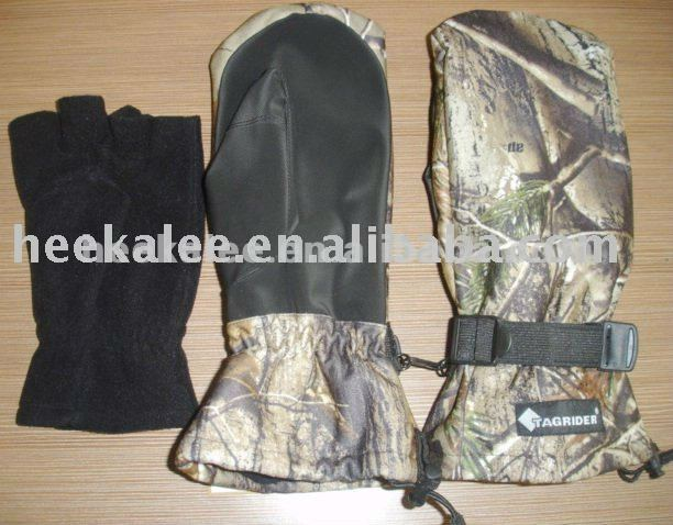 Adult's camouflage hunting gloves with inner gloves and 3M thinsulate
