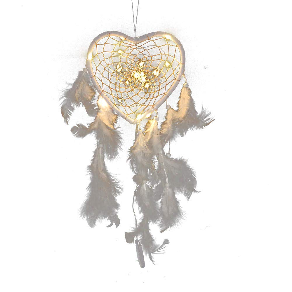 Lighted dream catcher wind chime, USHOT Handmade Dreamcatcher Feathers Night Light Car Wall Hanging Decor Room Home Deco, Lighted dream catcher MS6982D