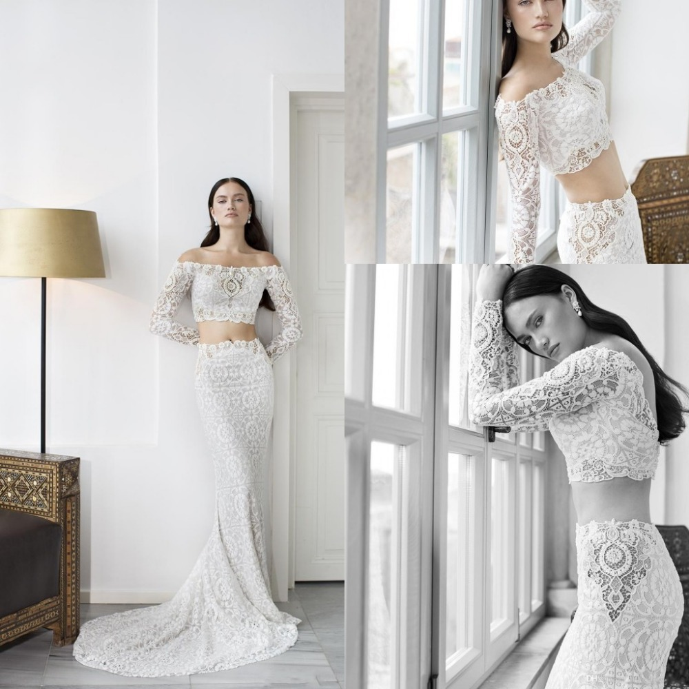 Sexy 2015 Spring Two Piece Wedding Dress Long Sleeve Lace