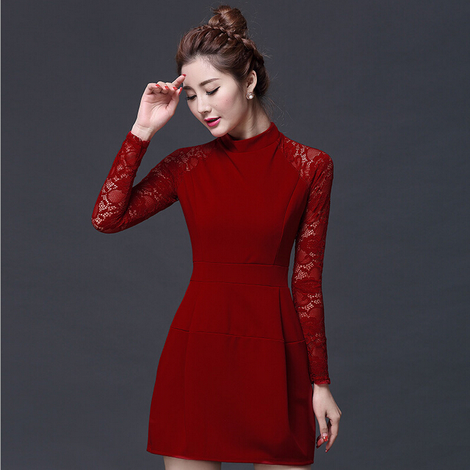 WAT1040 hefei mosen new products long-sleeved dress lace skirt fashion dresses