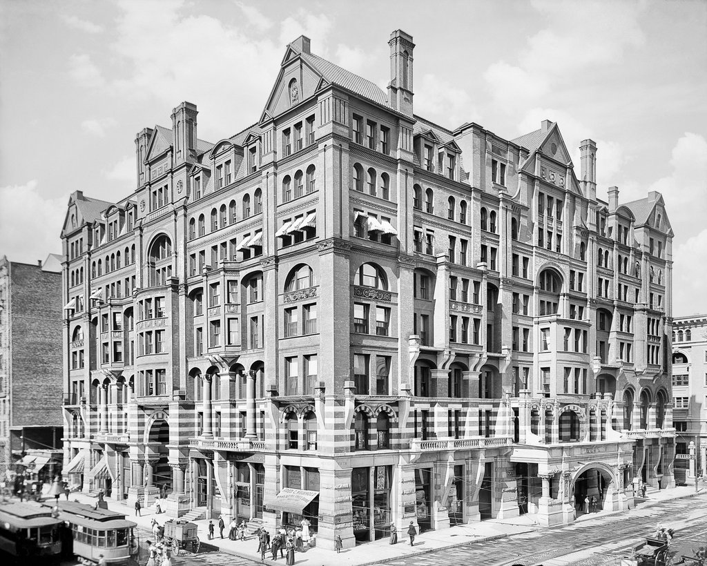 Minneapolis Historic Black & White Photo, The West Hotel at Hennepin Avenue & Fifth Street, c1905, 16x20in