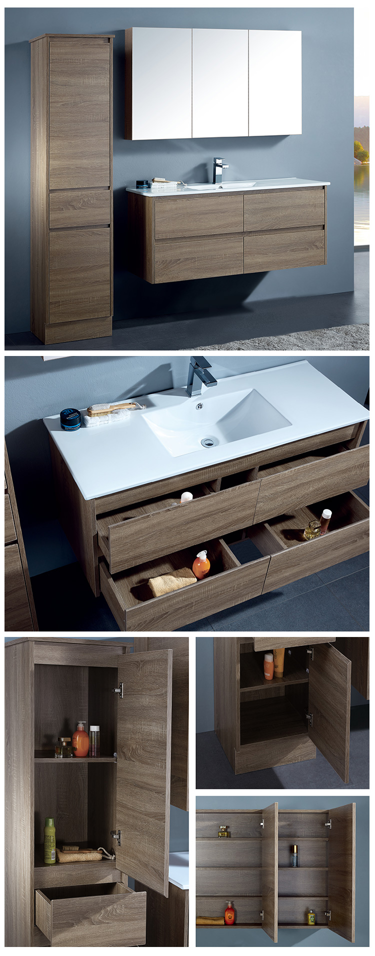 Italian Style Classic Hotel Bathroom Wood Vanity Cabinets Bath Vanity Set Bathroom Furniture