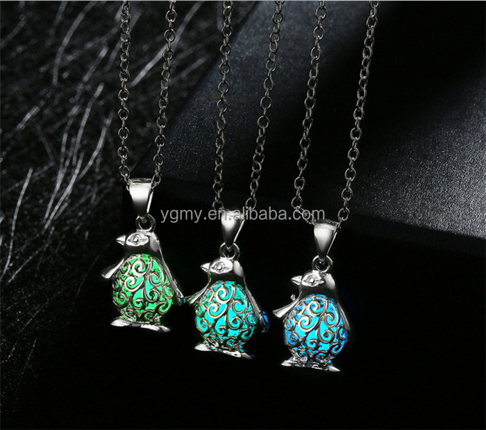 Penguin Pendant Necklace Silver Plated Animal Luminous Glowing Stone Necklace Women