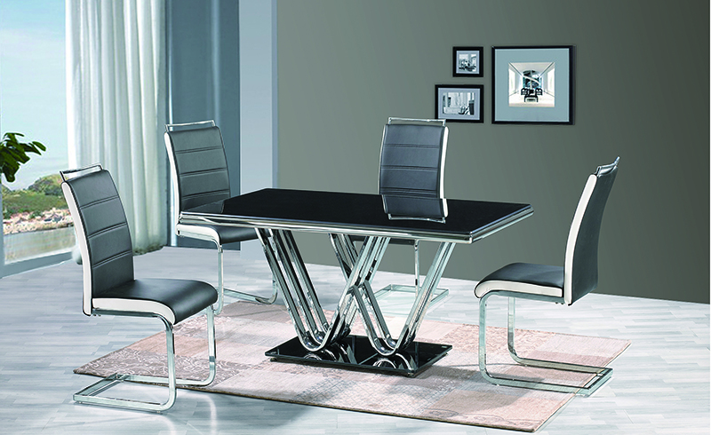 Stainless Steel Dining Table With Glass, Stainless Steel Dining ...
