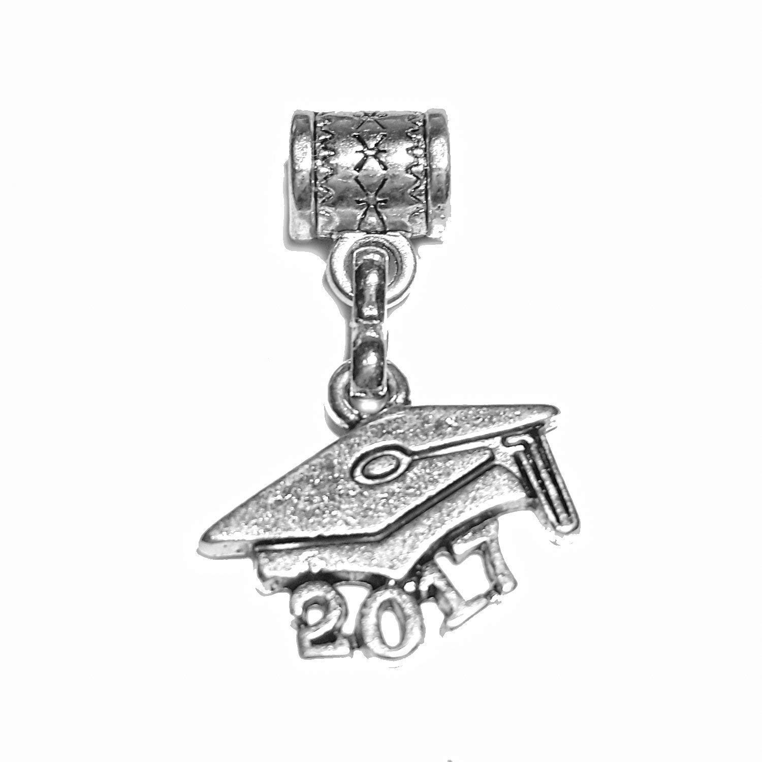 "Mossy Cabin ""Graduate 2017"" Tibetan Silver Hanging charm for large hole style snake chain charm bracelets, neck chains or key chains. ON SALE NOW!"