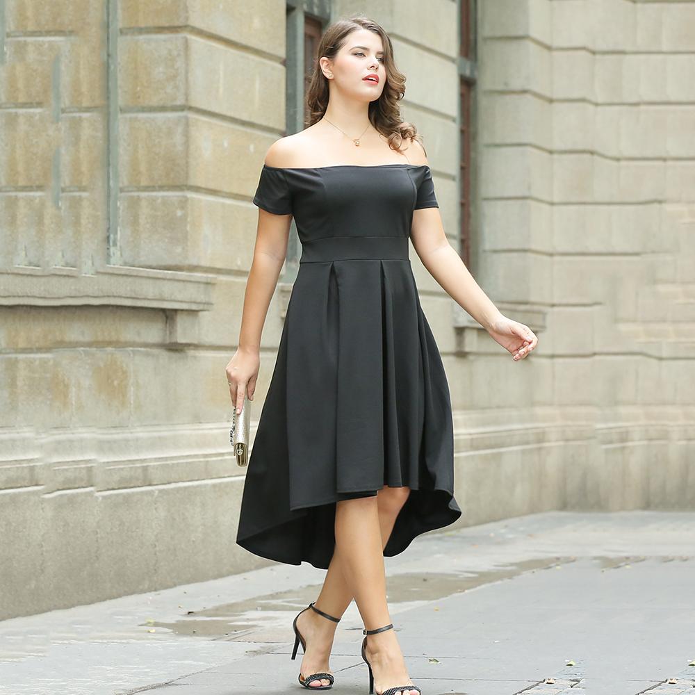 Temporada 2019 Hombro 3xl Plus Tamaño Vestido De Fiesta Elegante Diseño Para Señora De La Oficina Buy Vestido 3xl De Talla Grandevestido De