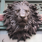 Metal Wall Mounted Bronze animal Lion Head Sculpture