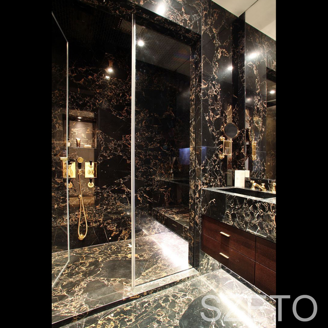 B001 High Quality Portopo Black Italian Marble Stone Flooring Tile