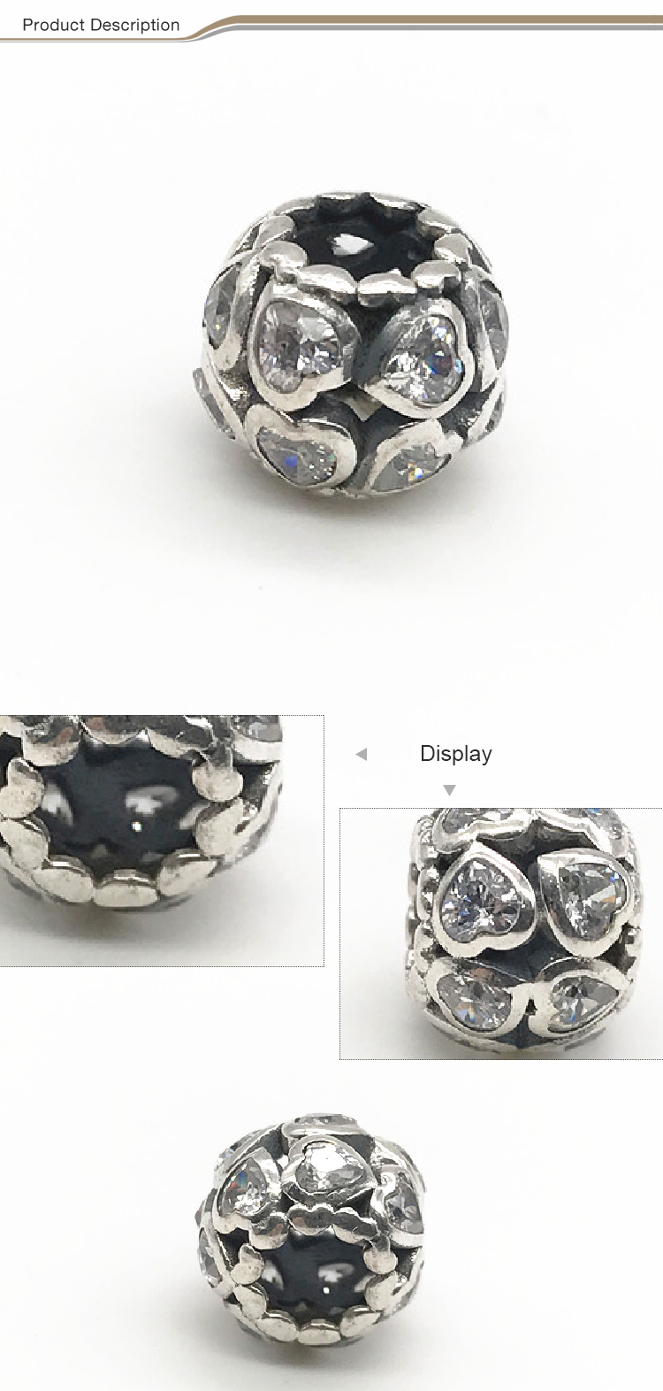 2019 new design DIY 925 sterling silver beads with zircon Love vintage beads for jewelry making