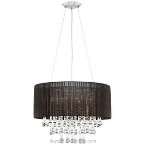 Pendant Chandelier Wire Led Hanging Light Fabric Shape Crystal Black CHANDELIERS Model : A2114