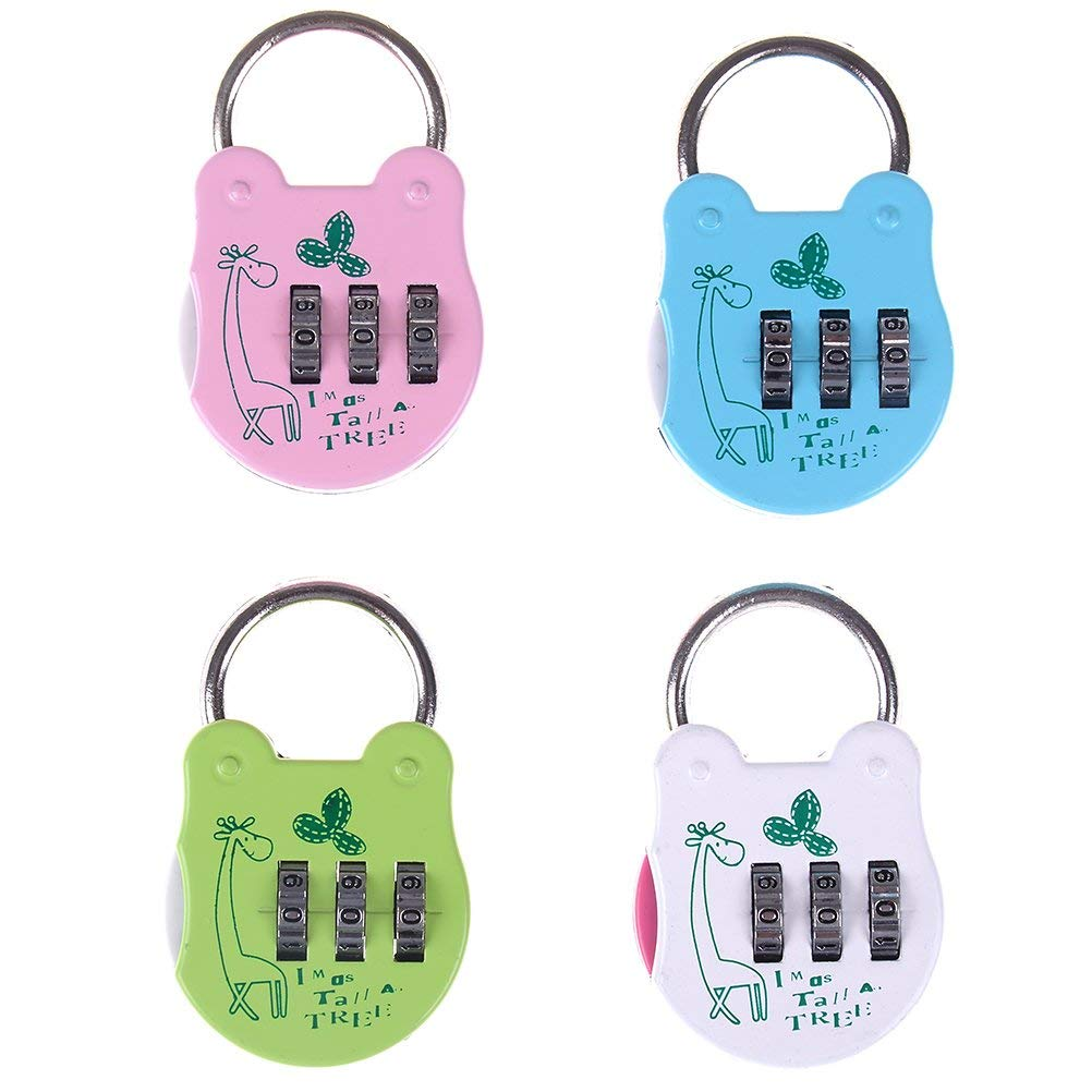 4 Pcs Security Padlock 3 Digit Combination Lock with Cartoon Pattern Mini Password Padlock for Bag, Luggage, School Gym Locker