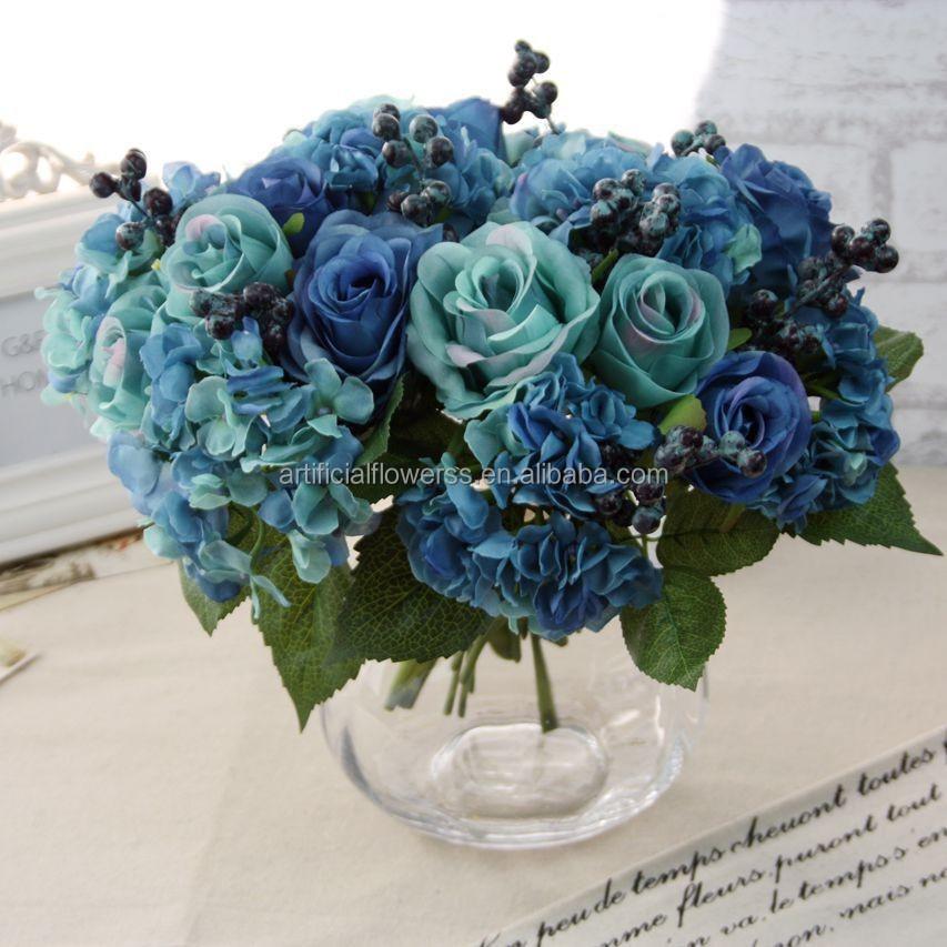Handmade Lifelike Artificial Flowers Bouquet Blue Rose Flowers - Buy ...