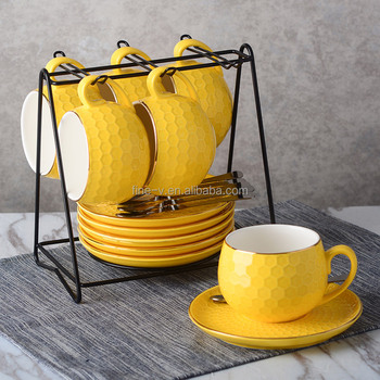 Ceramic Coffee Bowl Cup Saucer Set With Metal Stand Small And Stacking Cups Saucers