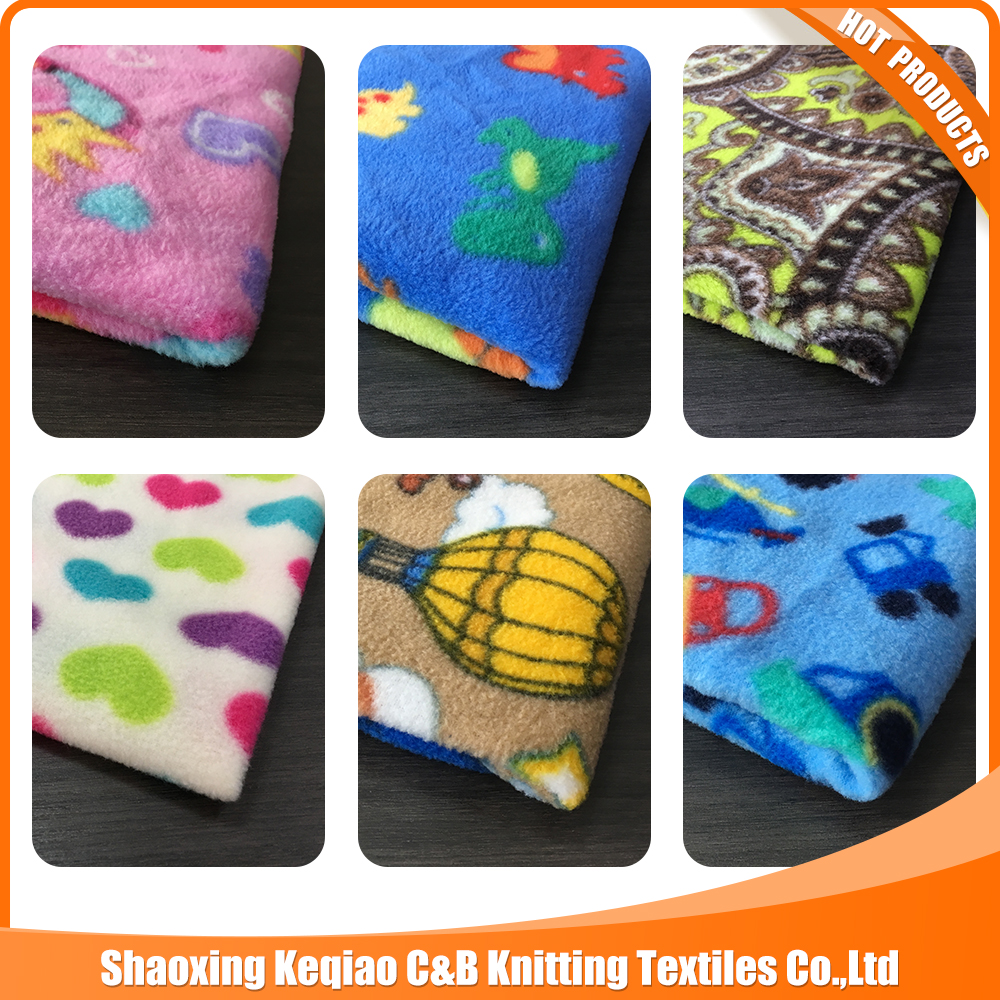 China ShaoXing Keqiao factory supplier printed FDY polar fleece fabric