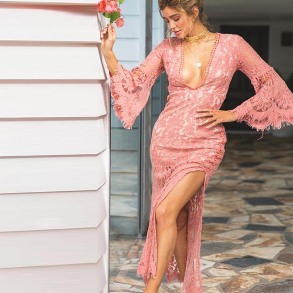Elegantes Design Vintage Frauen Sexy Rosa Lange Ärmel Spitze Maxi, Figurbetontes Kleid