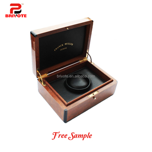 Custom made modern engraved wood single solid wooden watch box