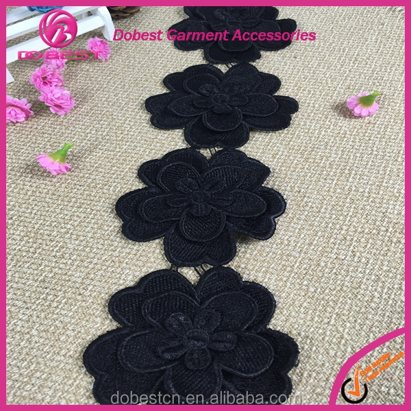 Black color flower applique lace 3D floral patch embroidered guipure lace trim on sale