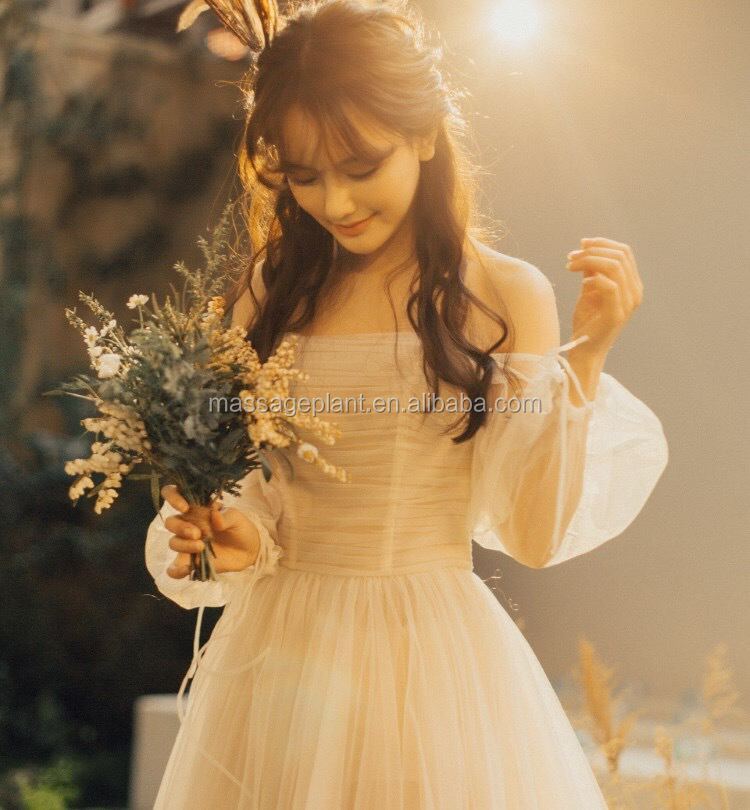 247cffc9a Off-hombro boda Vestido de gasa vestido de hendidura vestido escote vestido  de novia de