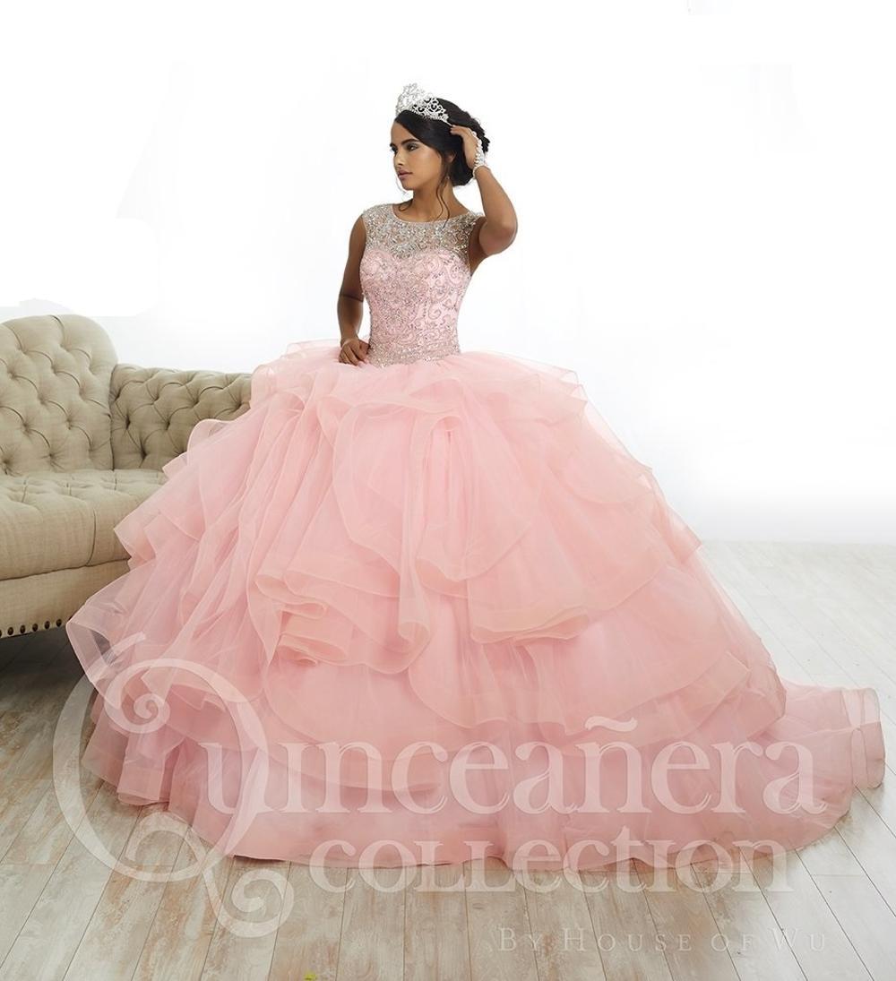 1d90e28d568 Illusion Neckline Beaded Rhinestone Top Quality Quinceanera Dresses 2018 Light  Pink Organza Ruffles Sweet 16 Dresses