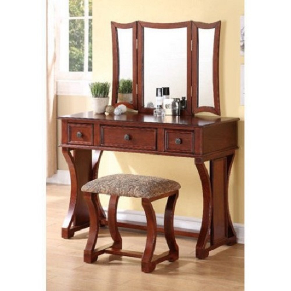 PNX Bobkona Edna Vanity Set, Cherry, Tri-fold mirror vanity table with stool set, Two small drawer and one large center drawer, Antique brass-look drawer handle.