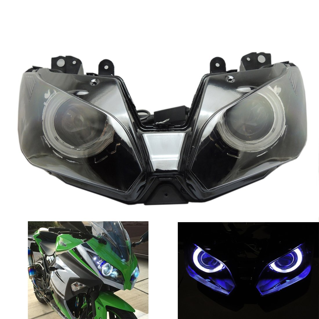 Ninja 300 Angel Eye Headlight Assembly for Kawasaki Ninja ZX6R ZX-6R, Kawasaki Ninja 300 2013 2014 2015 2016 Blue Demon Eye