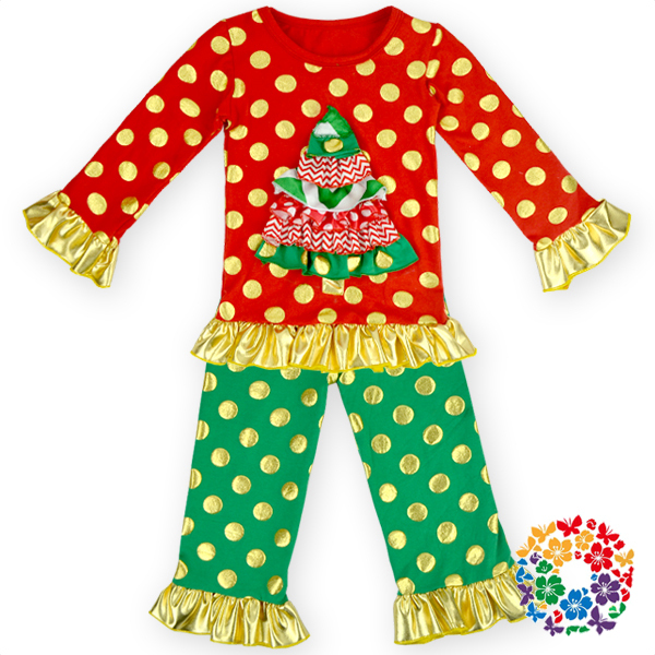 Cheap Boutique Kids First Christmas Holiday Outfit 2 Piece Christmas Tree Shirt & Polka Dot Ruffle Pants Set