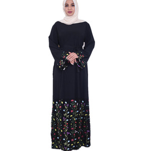 Elegant Lady Fashion Black Long slamic Abaya Embroidery Flower Abaya Muslim Dresses