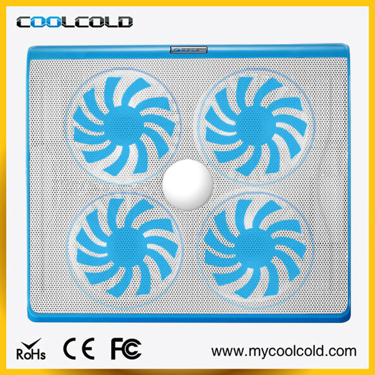 2015 new fashional laptop cooling pad with four mute fans and two adjustable switches--coolcold k23
