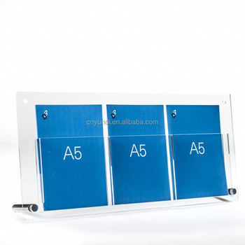 Customize Clear A6 3 Pockets Acrylic Brochure Magazine Display Holder