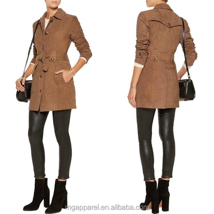 china supplier fashion women high quality long sleeves belt winter suede fur trench coat