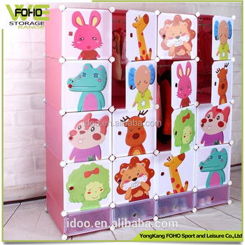 2016 DIY Kids Plastic Wardrobe Folding Diy Portable Closet