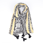 Wholesale 2019 newest cotton print scarves hijab high quality black yellow stripe print tassel woman vintage scarves