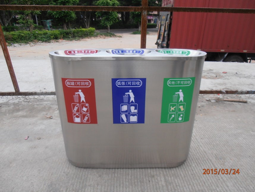 trash container recycling bin 3 compartments for park resort