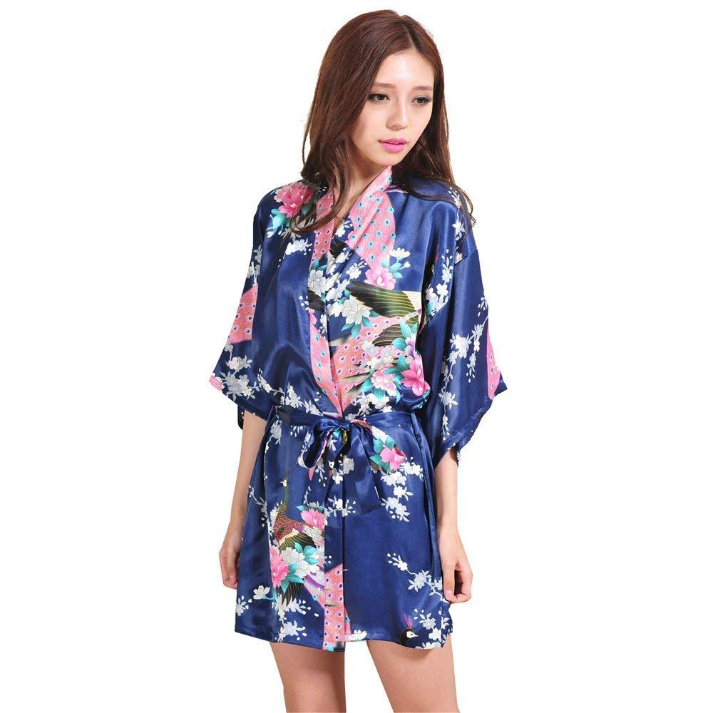 f7a24f60cf Get Quotations · GL G Sleeping robe Silk women s satin kimono Short bathrobe  Comfortable pajamas Loose bathrobe Sweatshirt fashion bathrobe