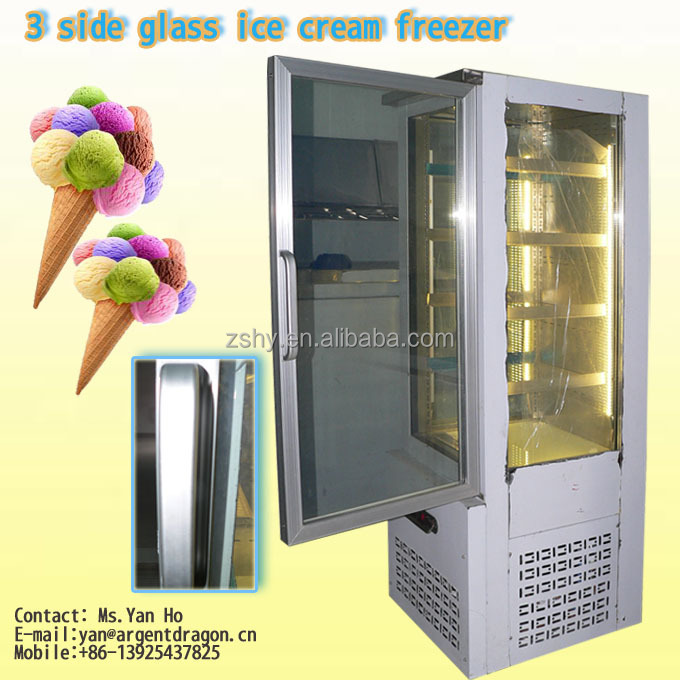 Vertical low temperature ice cream freezer display