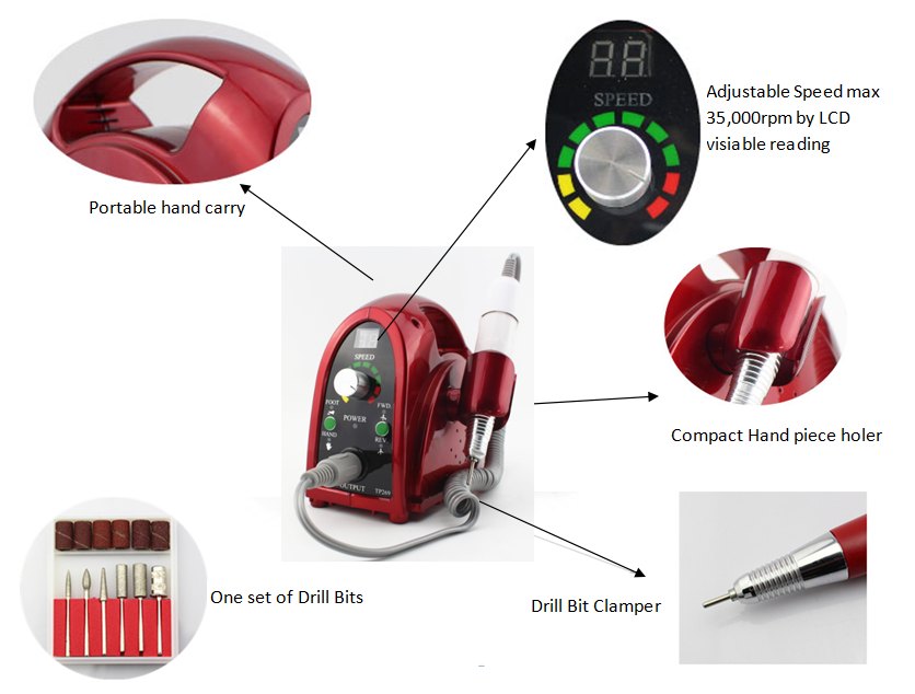 2017 Best Electric Nail Drill 35000 Rpm Glazing Machine Operation Manual